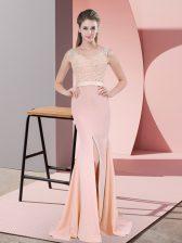 Glittering V-neck Sleeveless Sweep Train Zipper Dress for Prom Peach Chiffon
