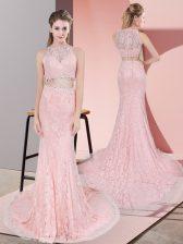Pink Zipper Dress for Prom Beading Sleeveless Court Train