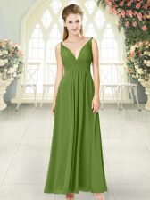 Traditional Olive Green Chiffon Backless Dress for Prom Sleeveless Ankle Length Ruching
