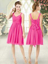 Deluxe Knee Length Empire Sleeveless Hot Pink Prom Dresses Zipper