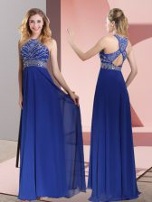 Designer Blue Empire Beading and Lace Dress for Prom Criss Cross Satin Sleeveless