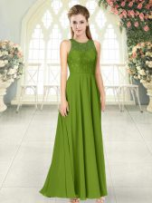 Sleeveless Chiffon Floor Length Backless Dress for Prom in Olive Green with Lace