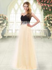 Fabulous Champagne Sweetheart Zipper Appliques Prom Gown Sleeveless