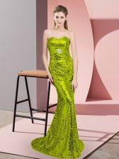 Super Apple Green Sweetheart Lace Up Belt Evening Dress Sweep Train Sleeveless