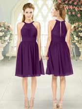 Perfect Sleeveless Chiffon Knee Length Zipper Dress for Prom in Purple with Ruching