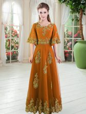 Orange Scalloped Neckline Lace Prom Dress Half Sleeves Lace Up