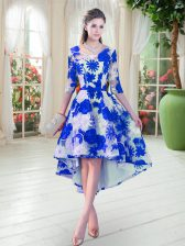 Blue And White Prom Party Dress Prom and Party with Belt Scoop Half Sleeves Lace Up