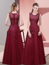 Scoop Sleeveless Tulle Prom Party Dress Lace and Appliques and Belt Zipper