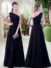 Exquisite One Shoulder Sleeveless Prom Party Dress Floor Length Appliques Black