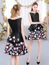 Deluxe Black A-line Satin Scoop Sleeveless Pattern Mini Length Zipper Vestidos de Damas