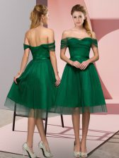 Tea Length Green Prom Party Dress Off The Shoulder Sleeveless Lace Up