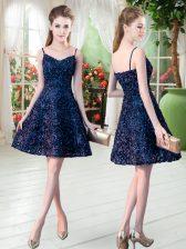 Beautiful Navy Blue Zipper Homecoming Dress Sleeveless Mini Length Lace