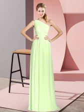 Chiffon Sleeveless Floor Length Prom Gown and Ruching