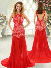 Custom Designed Red Chiffon Backless Evening Dress Sleeveless Brush Train Lace
