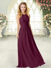 Affordable Floor Length Burgundy Prom Dress Scoop Sleeveless Zipper