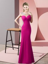 Custom Fit Floor Length Zipper Homecoming Dress Fuchsia for Prom and Party and Military Ball with Beading