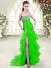 Fantastic Green Homecoming Dress Prom and Party with Beading and Ruffled Layers Sweetheart Sleeveless Brush Train Lace Up