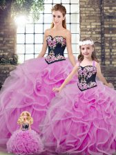 Best Selling Lilac Tulle Lace Up Sweetheart Sleeveless Vestidos de Quinceanera Sweep Train Embroidery and Ruffles