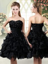 Sweetheart Sleeveless Prom Party Dress Mini Length Beading and Appliques and Ruffles Black Organza
