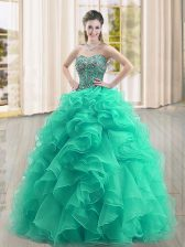 Turquoise Ball Gowns Sweetheart Sleeveless Organza Floor Length Lace Up Beading and Ruffles Quinceanera Dresses