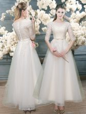 White Half Sleeves Organza Zipper Evening Dress for Prom and Party and Wedding Party
