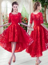 Traditional Lace Red Zipper Half Sleeves High Low