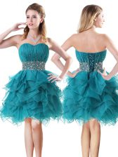Hot Selling Organza Sweetheart Sleeveless Lace Up Beading and Ruffles Prom Dresses in Teal