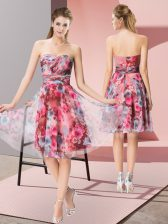 Low Price Knee Length Empire Sleeveless Multi-color Dress for Prom Zipper
