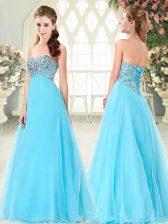 Beading Prom Gown Aqua Blue Lace Up Sleeveless Floor Length