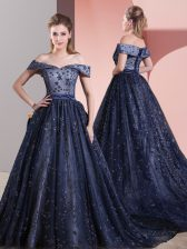Tulle Off The Shoulder Sleeveless Court Train Lace Up Beading Evening Dress in Navy Blue