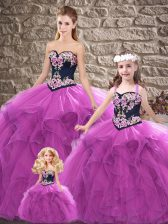 Sophisticated Floor Length Ball Gowns Sleeveless Purple Quinceanera Dresses Lace Up