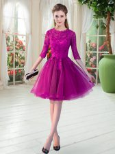 Shining Fuchsia A-line Tulle Scalloped Half Sleeves Lace Knee Length Zipper Prom Gown