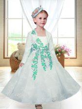 White Sleeveless Lace Zipper Flower Girl Dresses for Wedding Party