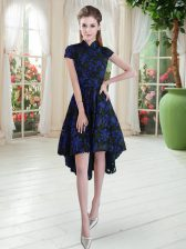 High-neck Short Sleeves Zipper Evening Dress Blue And Black Lace