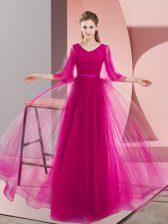 Pink and Fuchsia Tulle Zipper V-neck Long Sleeves Floor Length Beading