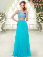 Floor Length Aqua Blue Prom Evening Gown Straps Sleeveless Zipper