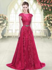 Pink Scoop Zipper Beading and Lace and Appliques Prom Dresses Sweep Train Cap Sleeves