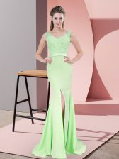 Spectacular V-neck Sleeveless Sweep Train Zipper Prom Party Dress Apple Green Chiffon