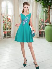 Turquoise Satin Zipper Scoop Sleeveless Mini Length Prom Evening Gown Appliques