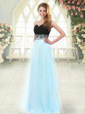 Amazing Light Blue Empire Tulle Sweetheart Sleeveless Appliques Floor Length Zipper Dress for Prom