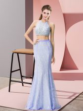 Modern Halter Top Sleeveless Backless Beading and Lace Prom Dresses in Baby Blue
