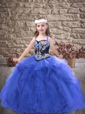 Royal Blue Tulle Lace Up Evening Gowns Sleeveless Floor Length Embroidery and Ruffles