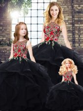 Comfortable Floor Length Black Quinceanera Dress Tulle Sleeveless Beading and Embroidery