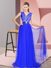Exquisite Royal Blue Prom Evening Gown Prom and Party with Beading and Lace V-neck Sleeveless Sweep Train Zipper