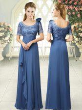 Noble Column/Sheath Prom Dress Blue Scoop Satin Short Sleeves Floor Length Zipper