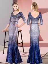 Romantic Floor Length Multi-color Prom Dress V-neck 3 4 Length Sleeve Zipper