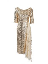 Sexy Gold Prom Evening Gown Prom and Party with Belt Scoop Half Sleeves Zipper
