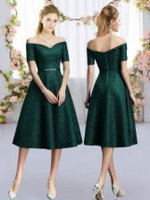 A-line Vestidos de Damas Dark Green Off The Shoulder Lace Short Sleeves Tea Length