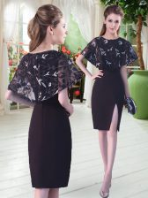 Black Satin Lace Up Scoop Half Sleeves Knee Length Lace