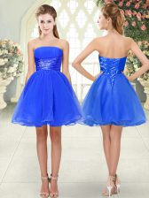 Classical Blue Prom and Party with Beading Strapless Sleeveless Lace Up